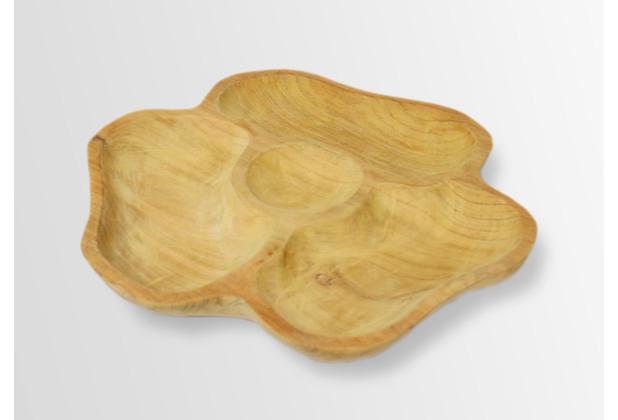 Niehoff Servierschale 35cm Durchmesser Teak geschliffen organisch geformt, 4er Unterteilung
