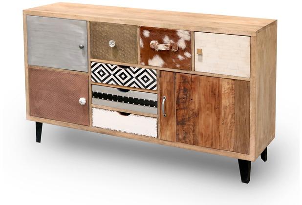 Niehoff Vintage Anrichte MANGO Holz vollmassiv Fronten Materialmix Retro-Füße schwarz 4 Türen, 5 Schubkästen
