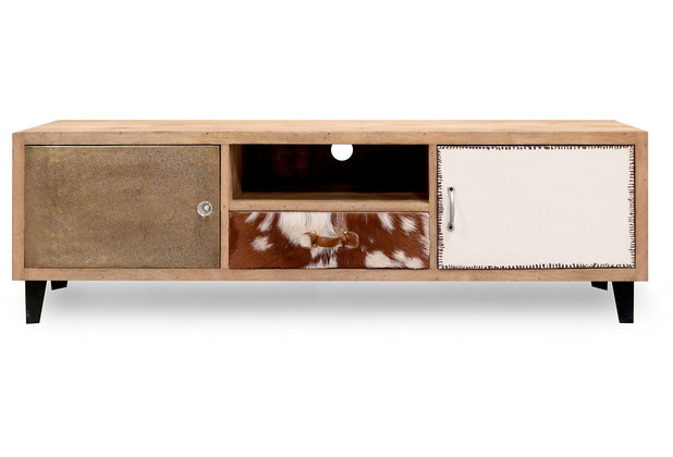 Niehoff Vintage Medienanrichte MANGO Holz vollmassiv Retro-Füße schwarz 2 Türen 1 Schubkasten 1 offenes Fach