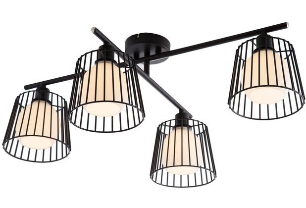 Nino Leuchten Deckenleuchte Metall schwarz Draht 4flg. PRISO 61420408