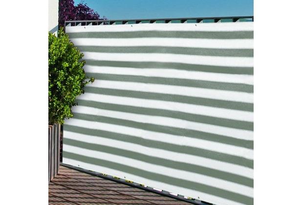 NOOR Balkonblende mit Ösen Balkon Sichtschutz UV-Schutz ca. Größe 0,90x3 m Farbe grau / weiß