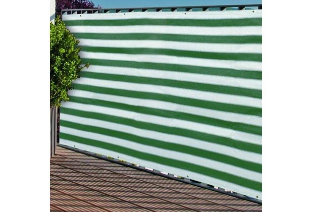 NOOR Balkonblende mit Ösen Balkon Sichtschutz UV-Schutz ca. Größe 0,90x3 m Farbe grün / weiß