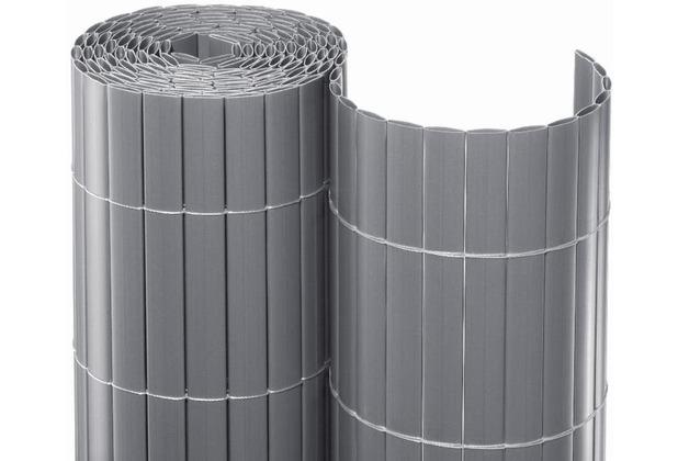 NOOR Sichtschutzmatte PVC Sichtschutz Kunststoff ca. Größe 0,90x3 m Farbe silber