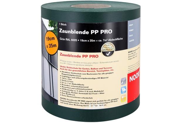 NOOR Sichtschutzstreifen PP Zaunblende PRO 0,19x35 m Farbe grün (RAL 6005)