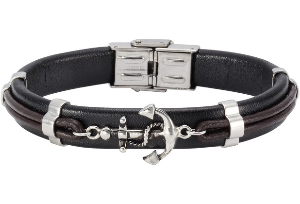 NOX Armband Leder schwarz braun Edelstahl schwarz/braun 12249