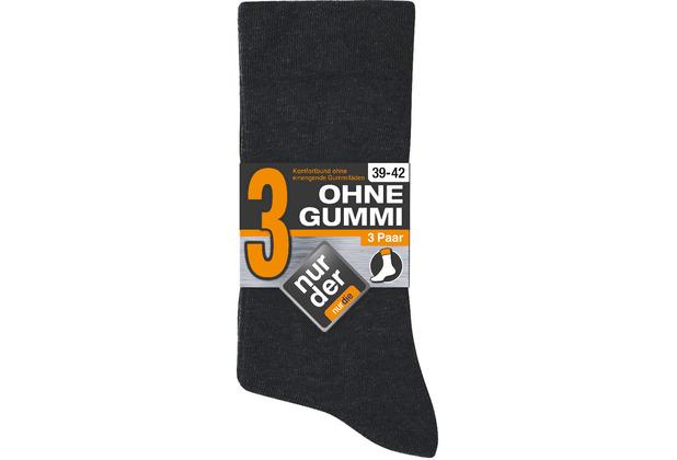 nur der Herren Ohne Gummi Socken 3er -940 schwarz 39-42