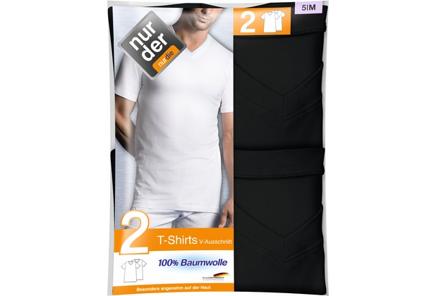 nur der T-Shirt 100% Cotton V-Ausschnitt DP-094 schwarz 5, 2er Pack