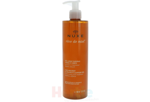 NUXE Reve De Miel Face & Body Cleansing Gel Dry & Sensitive Skin, Reinigungsgel Gesicht & Körper 400 ml