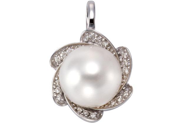 Orolino Anhänger 585/- Weißgold Perle Brillanten Silbergrau 12873