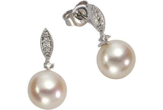 Orolino Ohrstecker 585/- Weißgold Perlen Brillanten Silbergrau 12797