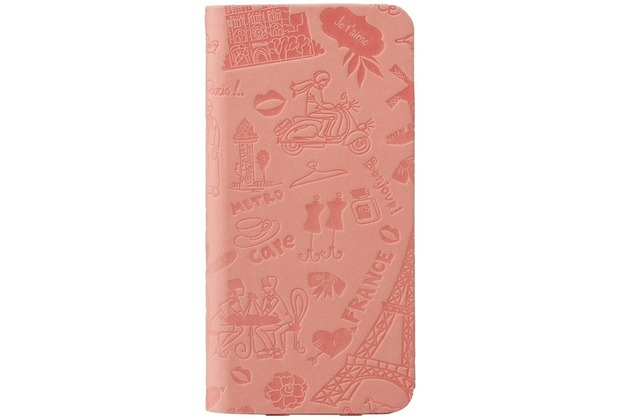 Ozaki O!Coat Travel Folio Leder-Case für Apple iPhone 6 Plus Paris (pink)