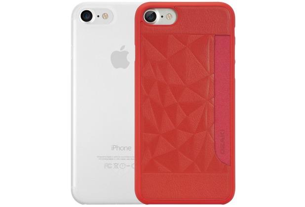 Ozaki O!Coat 0.3 Jelly + Pocket Case - Apple iPhone 7 / iPhone 8 / iPhone SE 2020 - rot & transparent