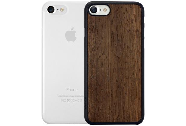 Ozaki O!Coat 0.3 Jelly + Wood Case - Apple iPhone 7 - ebony & transparent