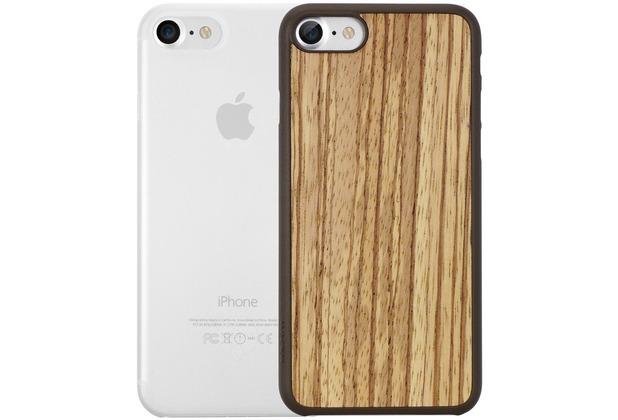 Ozaki O!Coat 0.3 Jelly + Wood Case - Apple iPhone 7 - zebrano & transparent