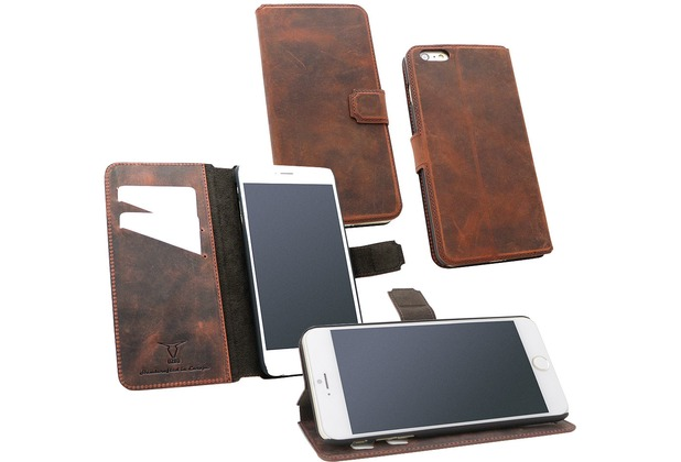 Fontastic OZBO Ledertasche Diary Rebo - rost - für Apple iPhone 6+/6s+