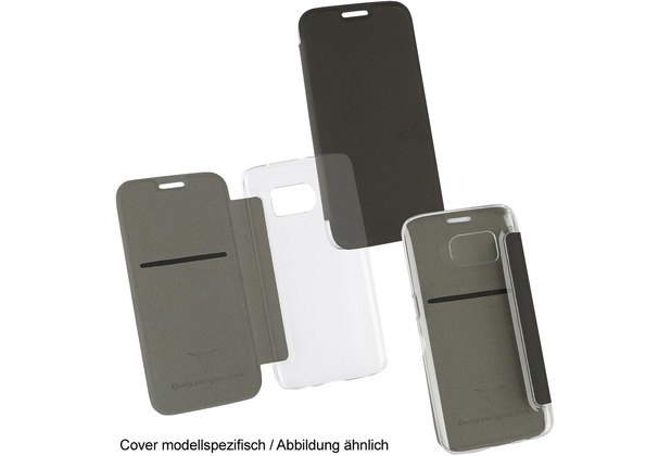 "Fontastic OZBO PU Tasche \""Diary Clear\"" - schwarz - für Apple iPhone 7 / 8"