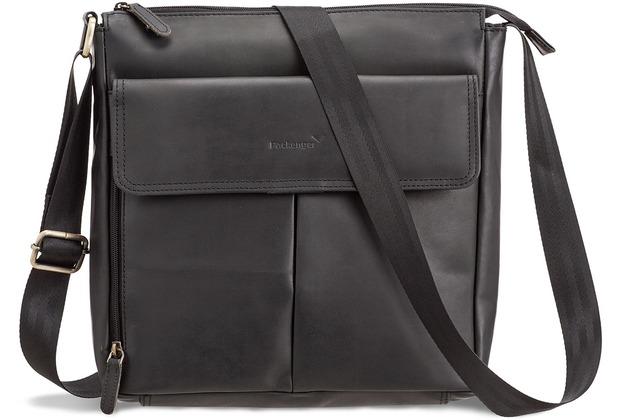 Packenger Horik Umhängetasche, Unisex in Schwarz aus Echtleder