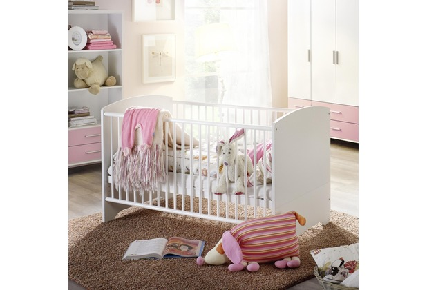 PACK\'S Babybett Aik Alpinweiß/rosa 770x890x1450 cm