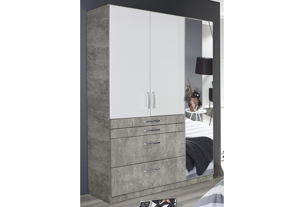 PACK\'S Drehtürenschrank Homburg weiß/Stonegrey 1360x1970x540 cm