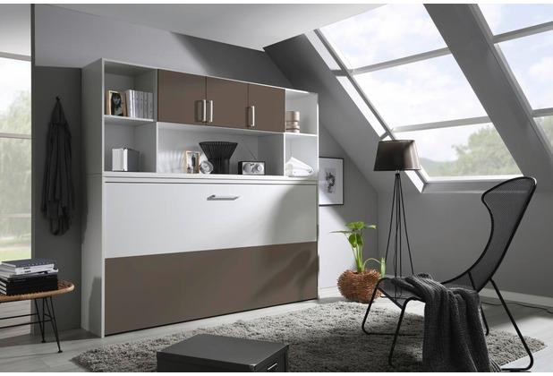 PACK\'S Querklappbett Albero, mit Regalaufsatz, Weiß/Weiß/Lavagrau, A9P97.0A60