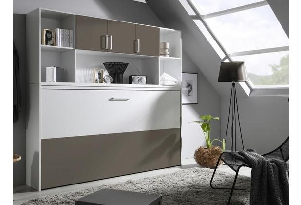 PACK\'S Querklappbett Albero weiß/Lavagrau 2120x1980x360 cm