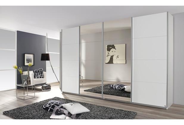Rauch Orange Syncrono Schrank Kleiderschrank Synchron Schwebetürenschrank Weiß 4-türig, BxHxT 271x230x62 cm mit 2 Spiegeltüren Griff alufarben