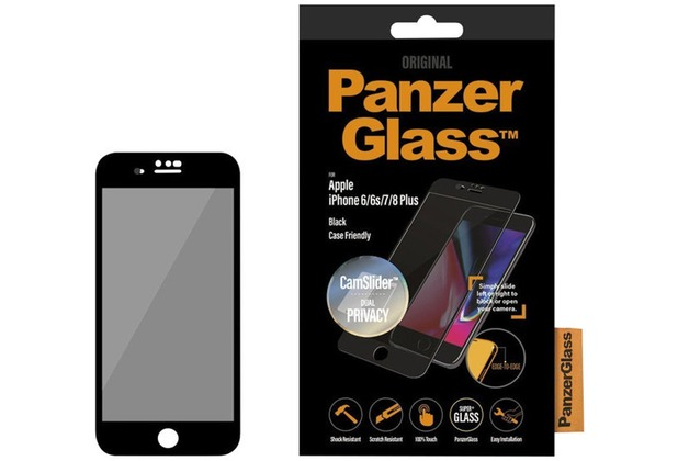 PanzerGlass Apple iPhone 6/6s/7/8 Plus Casefriendly Privacy CamSlider Black