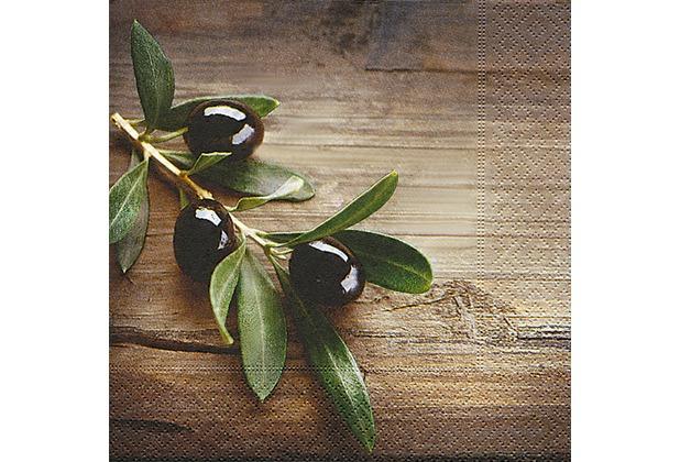 Paper+Design Servietten Tissue Olives in a wood 33 x 33 cm 20er