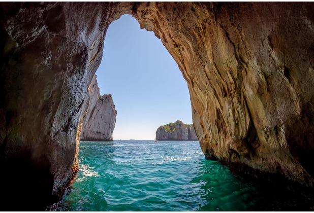 papermoon Fototapete Blue Grotto in Capri island 7 Bahnen 350 x 260 cm Vlies