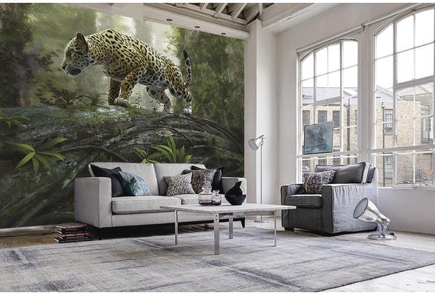 papermoon Fototapete 7 Bahnen, Digitaldruck Jaguar on the Prowl, Tapetenbahn 50cm, BlueBack 350 x 260 cm