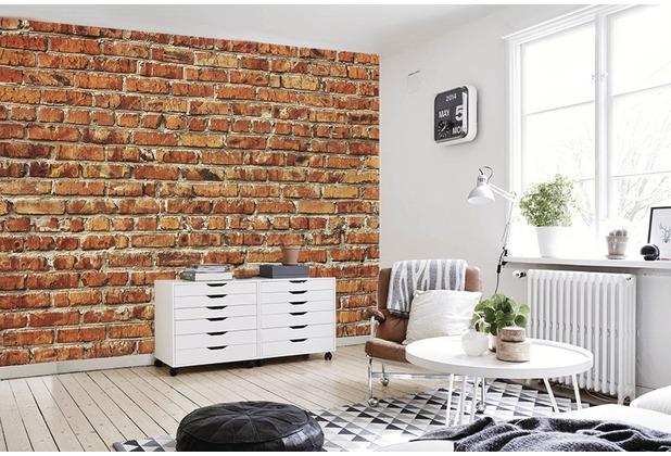 papermoon Fototapete 7 Bahnen, Digitaldruck Red Brick Wall, Tapetenbahn 50cm, BlueBack 350 x 260 cm