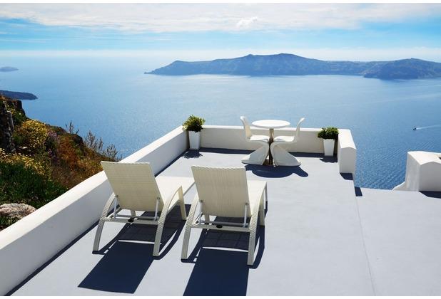 papermoon Fototapete Sea View Terrace in Santorini 7 Bahnen 350 x 260 cm Vlies
