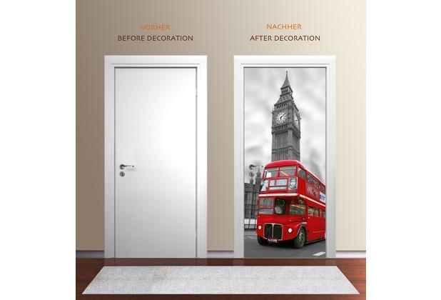 "papermoon Wand & Türdekor, Fototapete \""Tür\"", Spezial Tapetenpapier, London Big Ben 90 x 200cm"