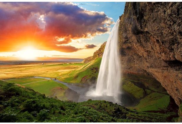 papermoon Fototapete Waterfall, Iceland 7 Bahnen 350 x 260 cm Vlies