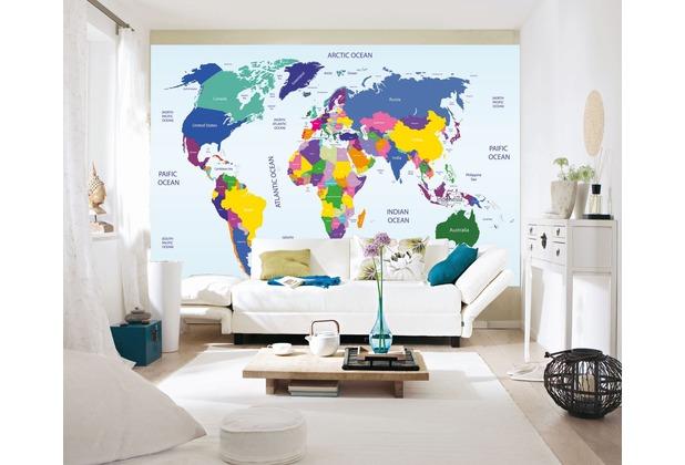 """papermoon Worldmap Fototapete 7 Bahnen \""""Silver Editions\"""", 350 x 260 cm, Weltkarte 081"""