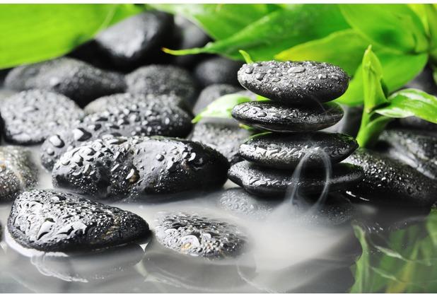 papermoon Fototapete Zen Basalt Stones 7 Bahnen 350 x 260 cm Vlies