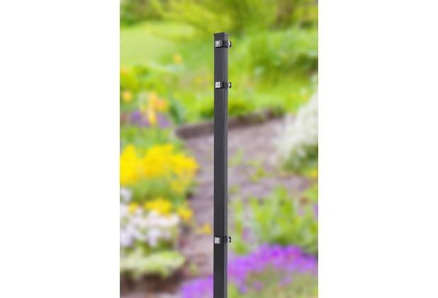 Peddy Shield Eckpfosten mit Fuß (Montageplatte integriert 100/100mm) , RAL 7016 anthrazit, L: 1100x40x40 mm