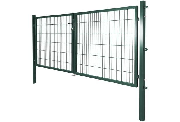 Peddy Shield Gartentor für Standard Stabmatte zweiflügelig RAL 6005 2x 150x100 cm