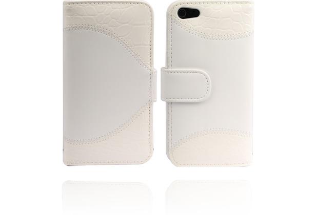 Twins Stitched BookFlip für iPhone 5/5S/SE, weiß