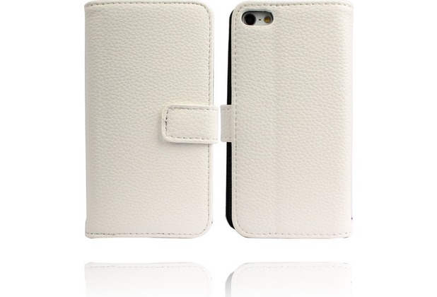 Twins Premium BookFlip Leather für iPhone 5/5S/SE, weiß