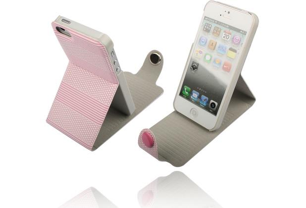 Twins Striped Flip-Flap für iPhone 5/5S/SE, pink