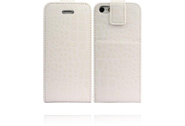 Twins Flip-Flap Croco für iPhone 5/5S/SE, weiß