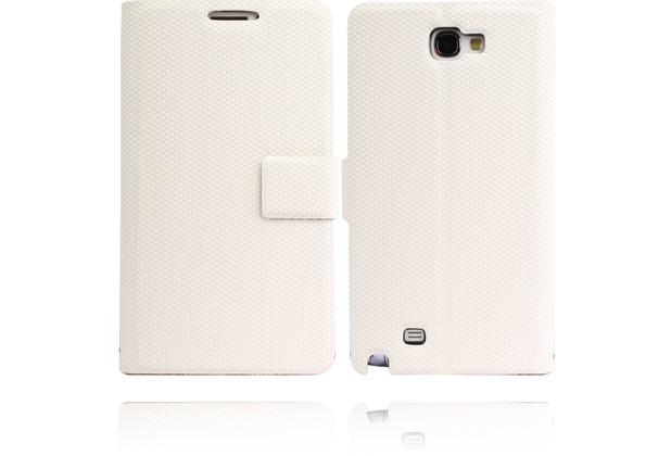 Twins Premium BookFlip Leather für Samsung Galaxy Note 2, weiß