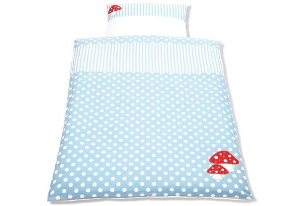 Pinolino Wendebettwäsche für Kinderbetten \'Glückspilz\', hellblau, 2-tlg.