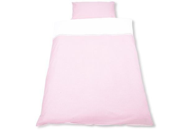Pinolino Wendebettwäsche für Kinderbetten \'Vichy-Karo\', rosa, 2-tlg.
