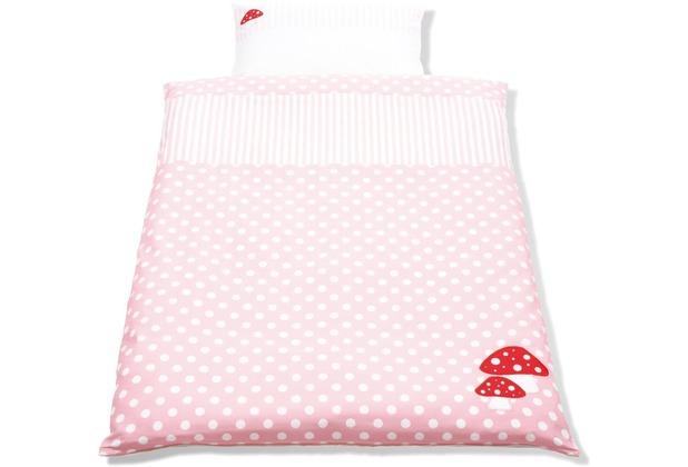 Pinolino Wendebettwäsche für Kinderbetten \'Glückspilz\', rosa, 2-tlg.