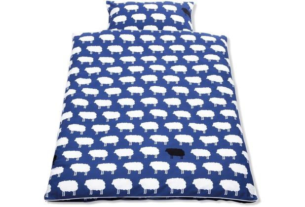 Pinolino Wendebettwäsche für Kinderbetten \'Happy Sheep\', blau, 2-tlg.