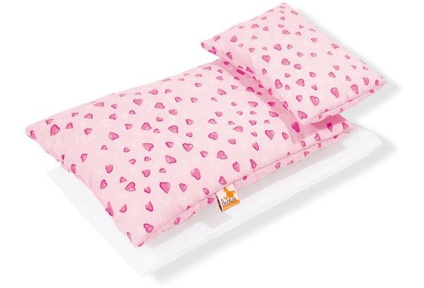 Pinolino Puppenbettzeug für Puppenbetten \'Herzchen\', rosa, 3-tlg.