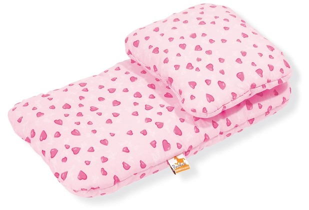 Pinolino Puppenbettzeug für Puppenwagen \'Herzchen\', rosa, 2-tlg.