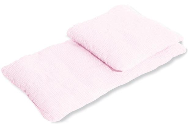 Pinolino Puppenbettzeug für Puppenwagen \'Vichy-Karo\', rosa, 2-tlg.